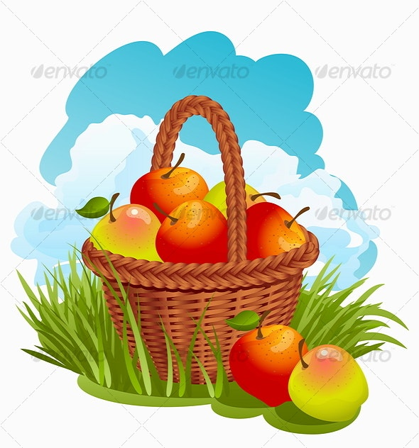 Basket with Apples - Flowers & Plants Nature