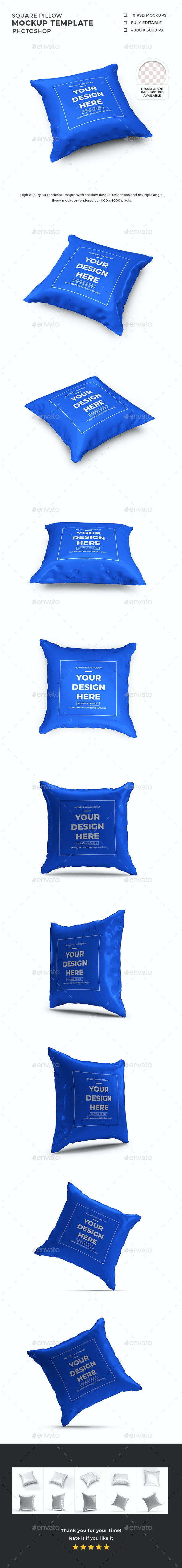 Square Pillow Mockup Template Set - Miscellaneous Product Mock-Ups