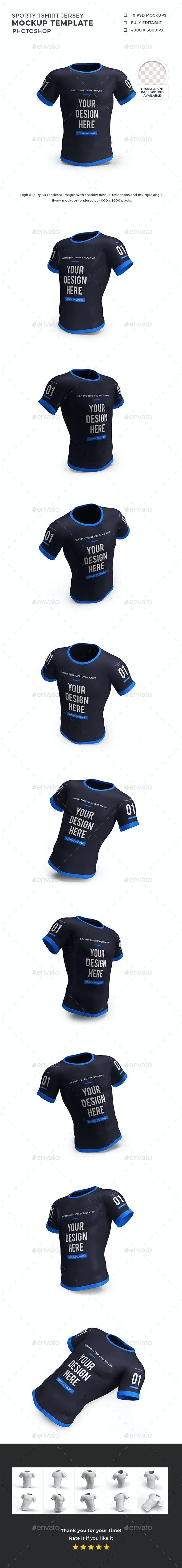 Sporty Tshirt Jersey Mockup Template Set - T-shirts Apparel