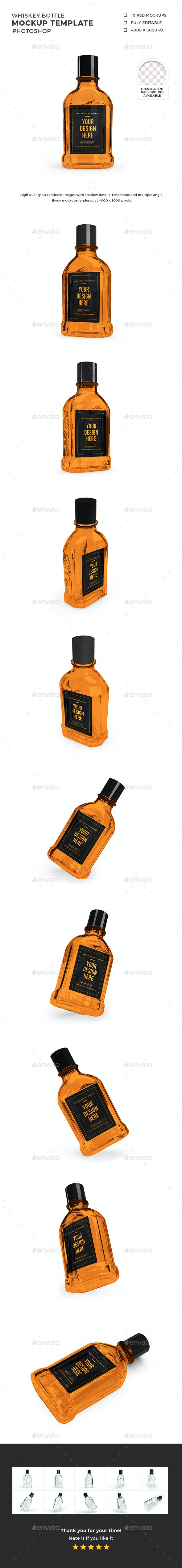 Whiskey Bottle Mockup Template Set - Food and Drink Packaging