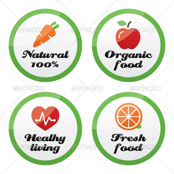 Organic food, fresh and natural products icons  - Web Elements Vectors