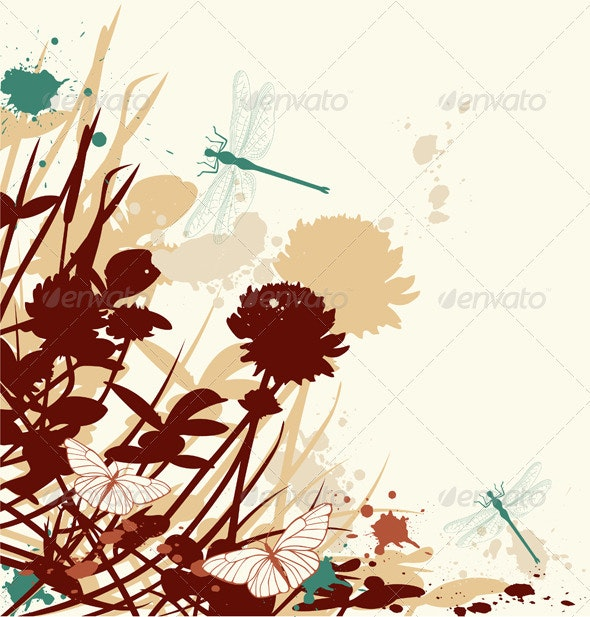 Retro Floral Background - Flowers & Plants Nature