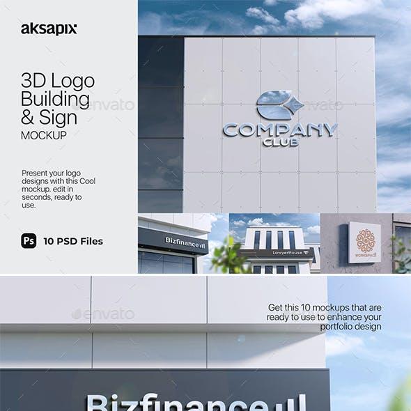 3D Logo Building & Sign Mockup