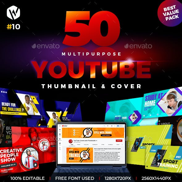 50 Youtube Thumbnail & Cover Banner
