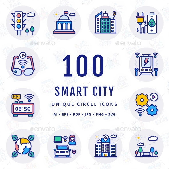 Smart City Unique Filled Circle Icons - Technology Icons