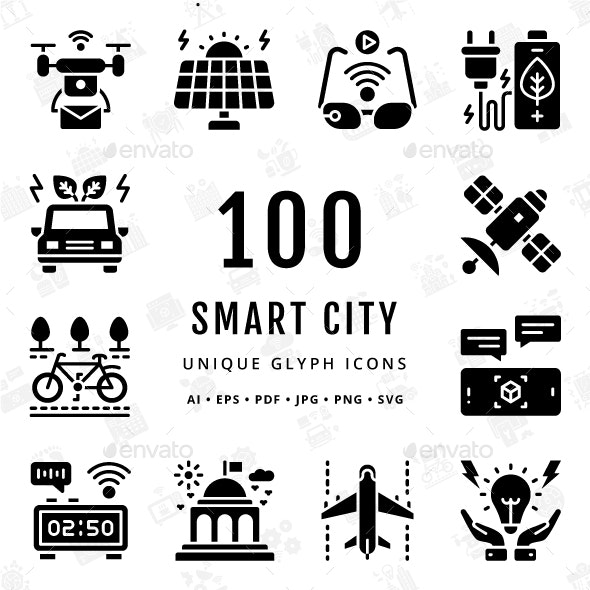 Smart City Unique Glyph Icons - Technology Icons