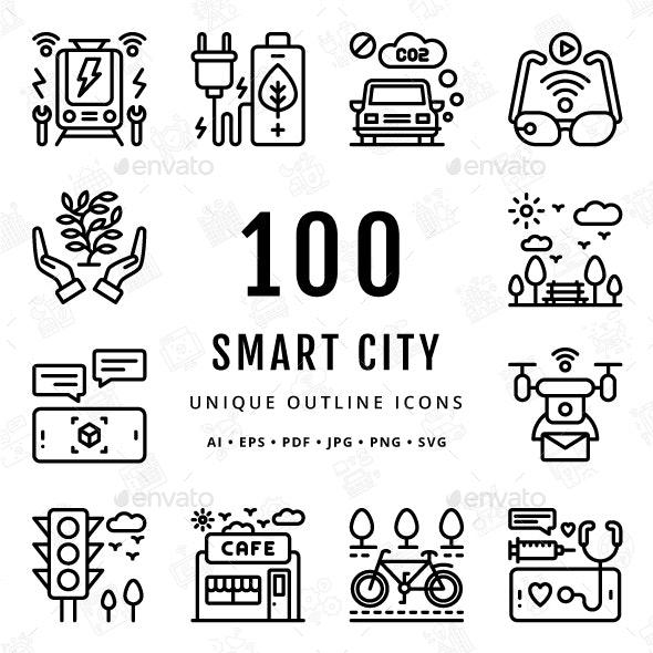 Smart City Unique Outline Icons - Technology Icons