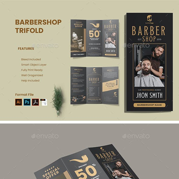 Barber Trifold Brochure Template