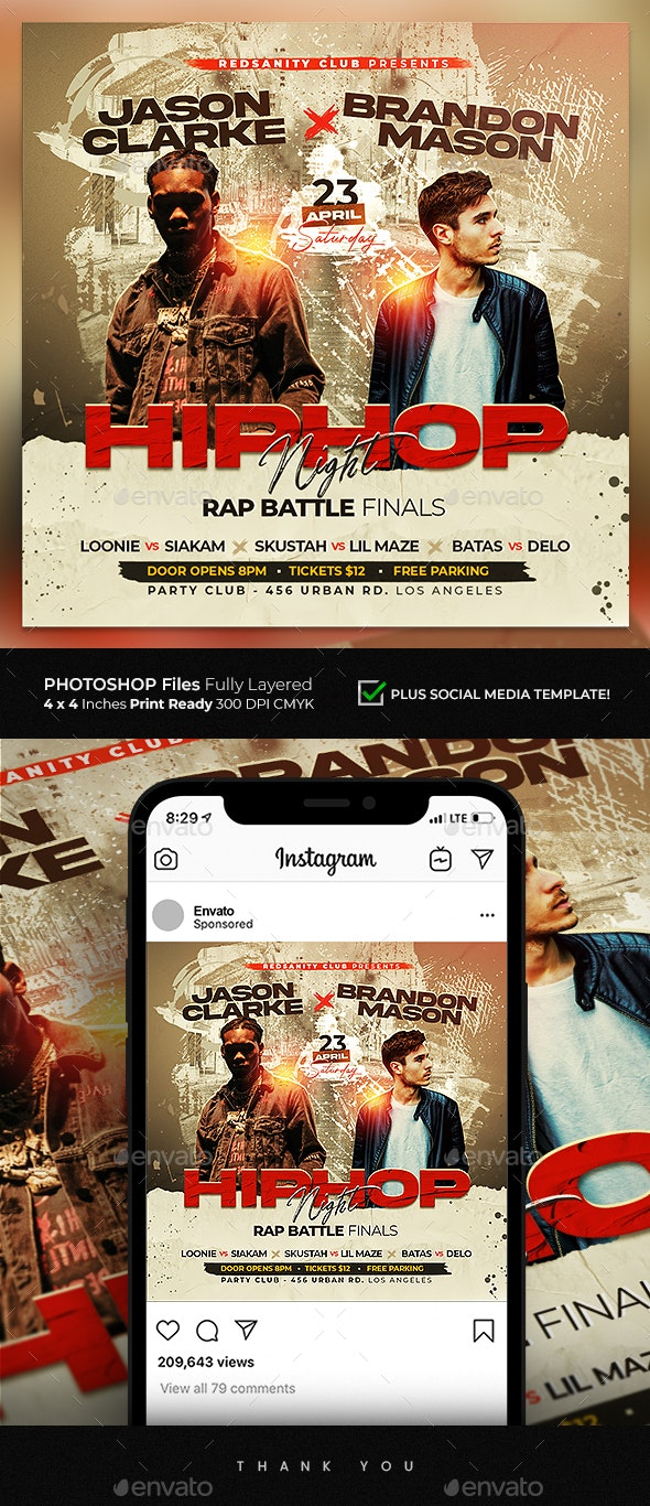Hip Hop Nights Flyer - Clubs & Parties Events