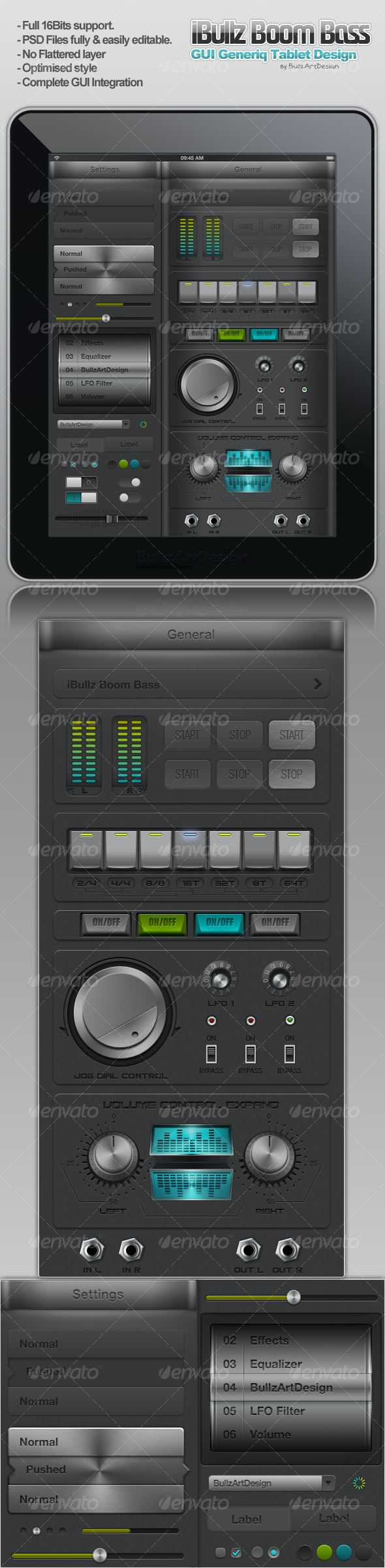 iBullz Boom Bass UI Interface Design - User Interfaces Web Elements