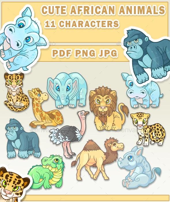 cute african animals - Animals Illustrations