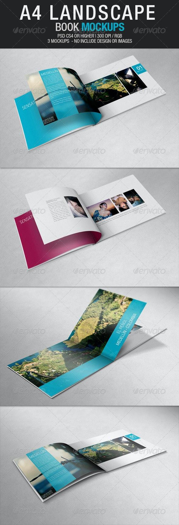 A4 Landscape Book Mockups - Books Print