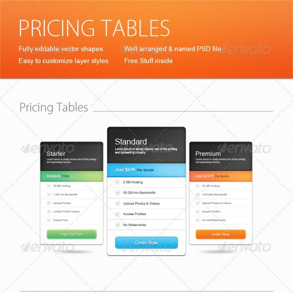 Web Pricing Tables + Free Stuff