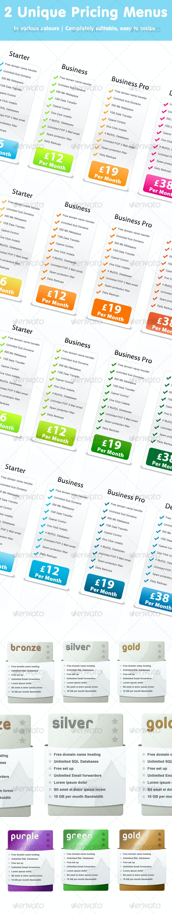 Web Pricing Tables - Web Elements