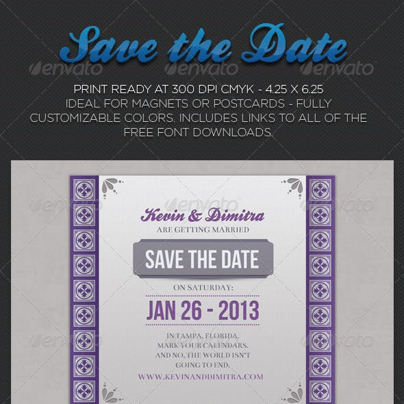 Ornate Save The Date Wedding and Engagement Cards