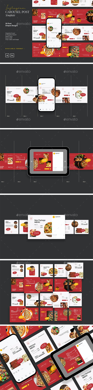 Trendy and Modern Food Instagram Carousel - Social Media Web Elements