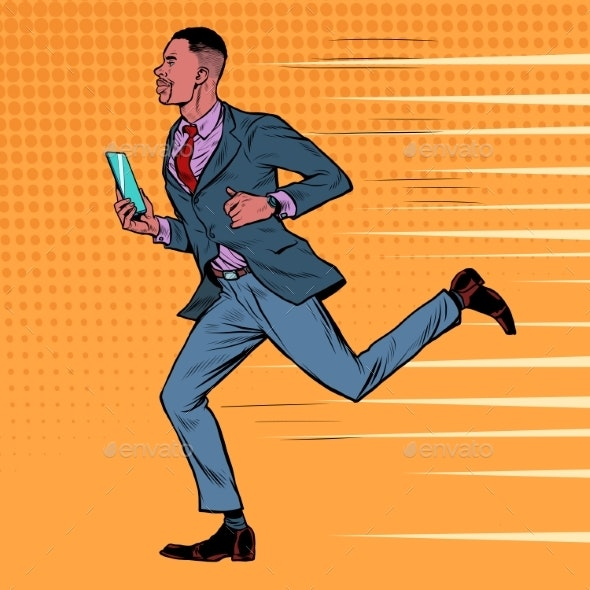 Businessman with a Smartphone Runs - People Characters