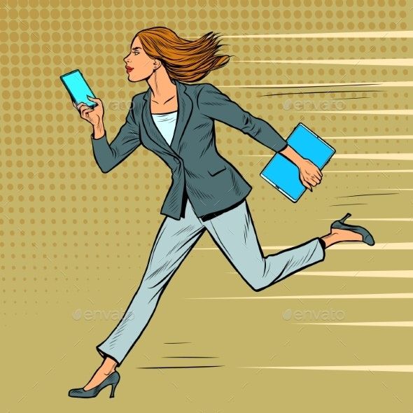 a Businesswoman Runs with a Smartphone - People Characters