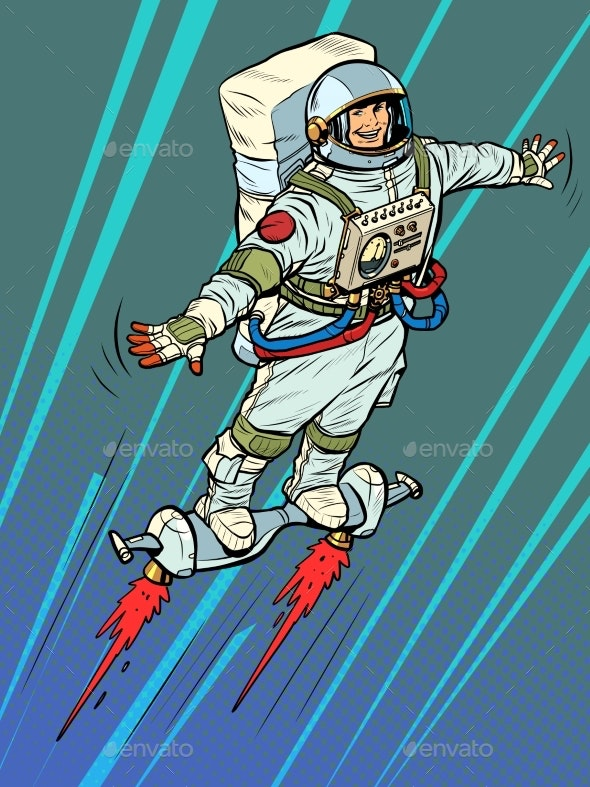 an Autronaut on a Space Jet Hoverboard - People Characters