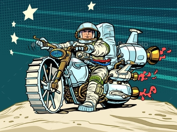 Astronaut Biker on a Space Motorcycle - People Characters