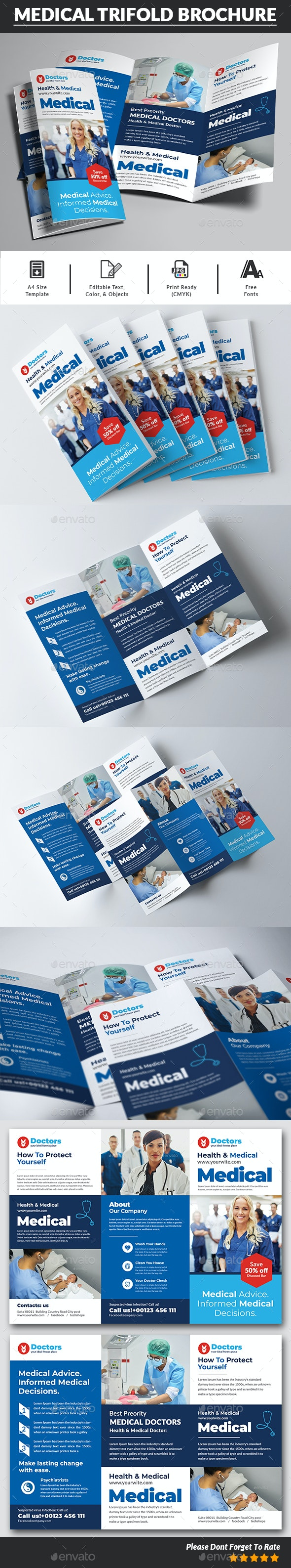 Medical Trifold Brochure Templates - Corporate Brochures