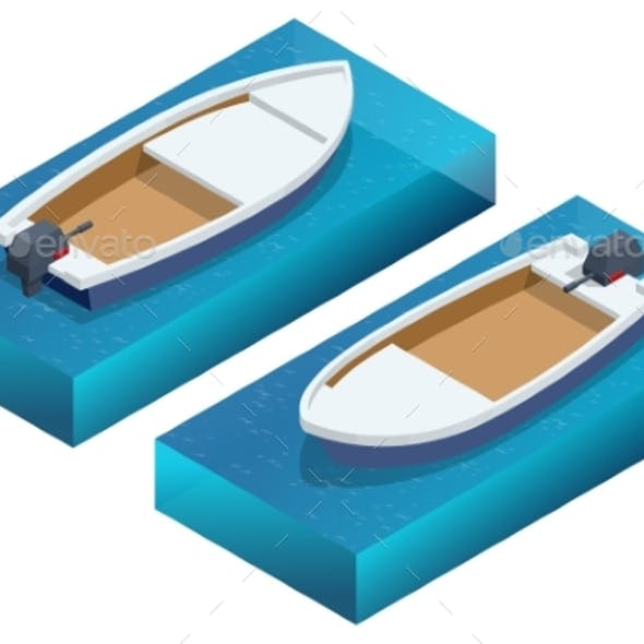 Isometric Powerboat or Speed Boat Isolated Object