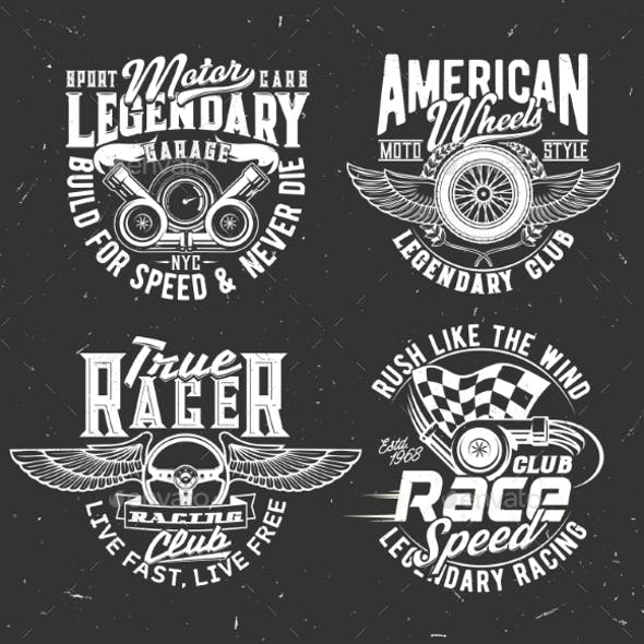 Car Rally Race Tshirt Prints with Flag and Wheel