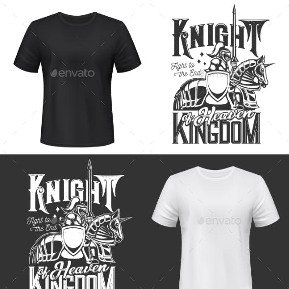 Tshirt Print with Knight Riding Horse with Sword