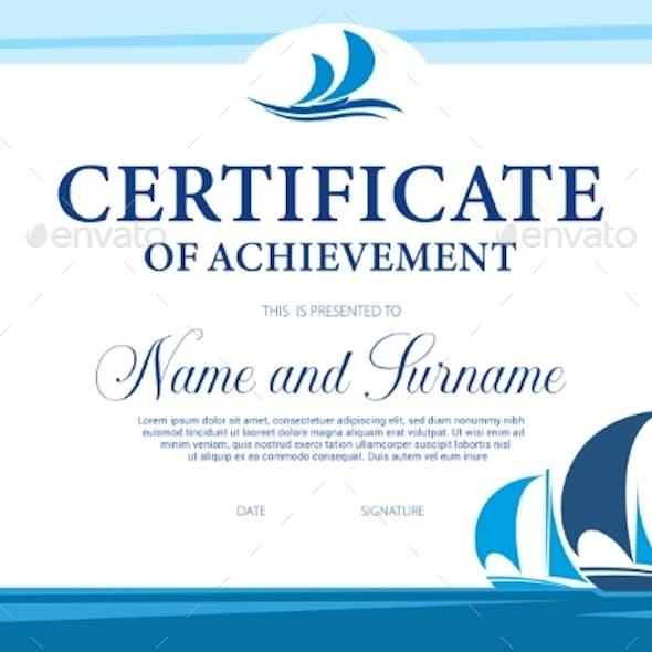 Certificate of Achievement in Yacht Regatta Vector