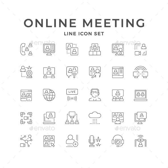 Set Line Icons of Online Meeting - Man-made objects Objects