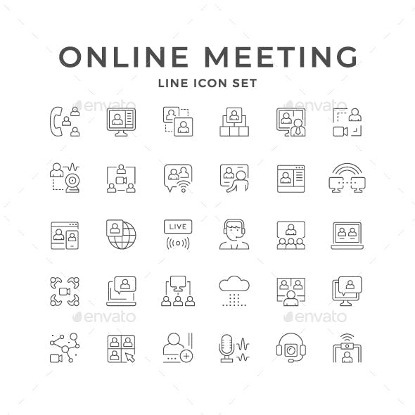 Set Line Icons of Online Meeting