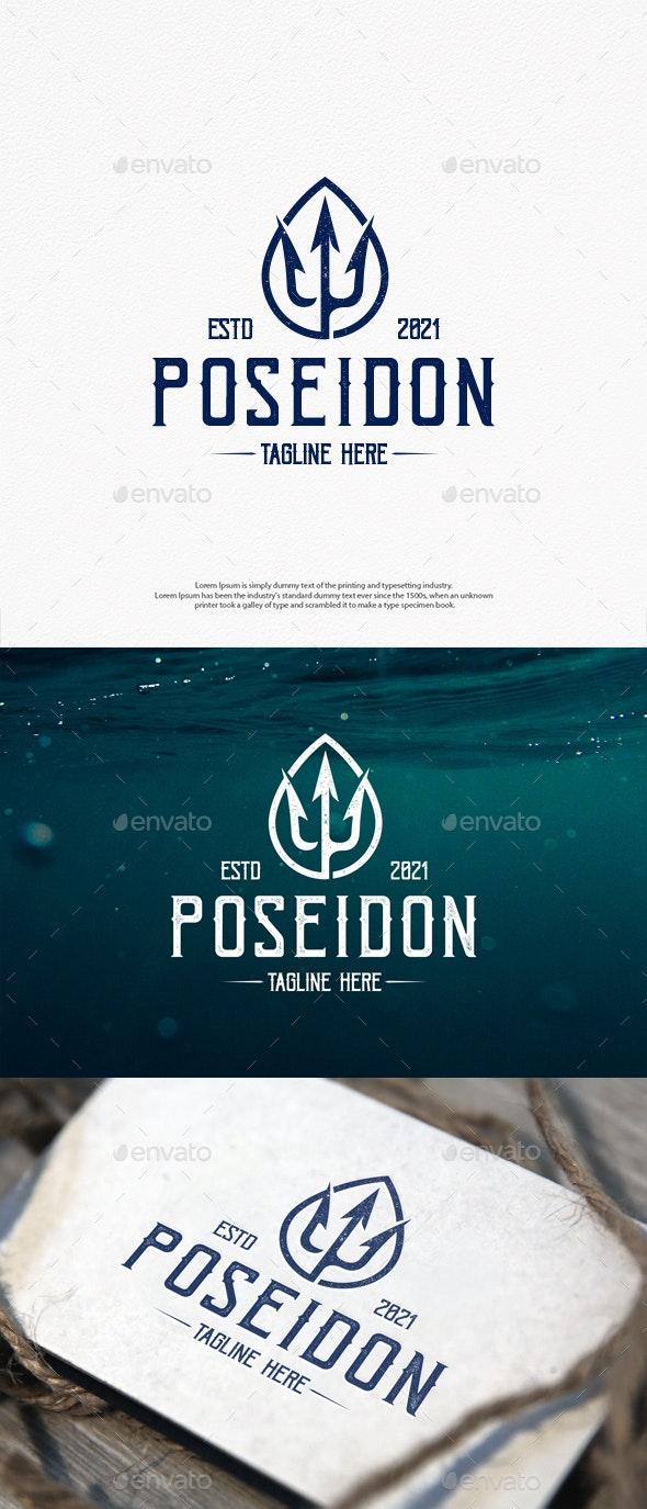 Poseidon Trident Vintage Logo Template - Crests Logo Templates
