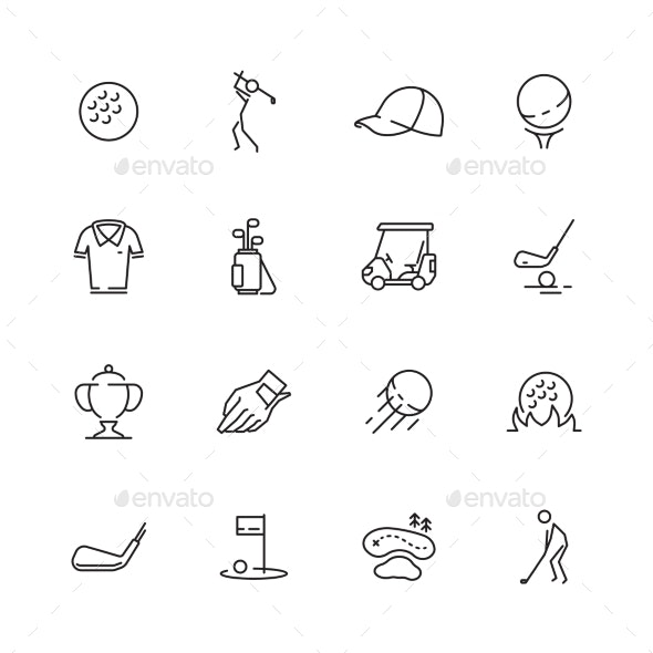 Golf Icons - Web Elements Vectors