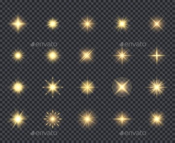 Glowing Stars Icon - Web Elements Vectors
