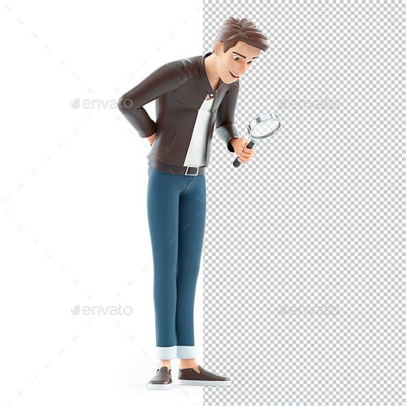 3D Cartoon Man Looking Through Magnifying Glass