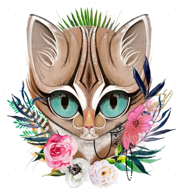 Cat's Head Portrait with Flowers and Leaves - Animals Illustrations