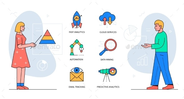 Data Analysis  Colorful Flat Design Style Poster - Conceptual Vectors