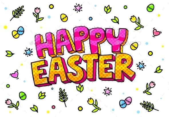 Happy Easter Lettering - Flowers & Plants Nature