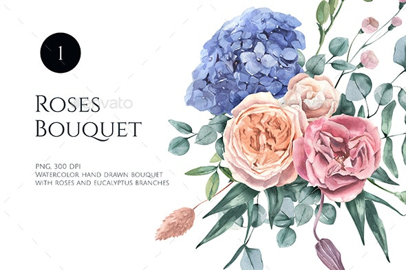 Watercolor Hydrangea and Roses Bouquet - Nature Backgrounds