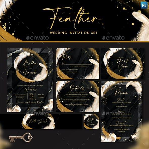 Feather Wedding Invitation Set