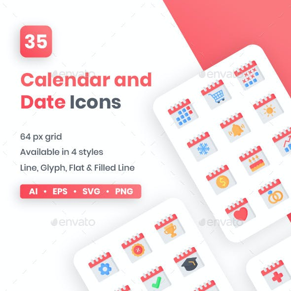 Calendar and Date Icons