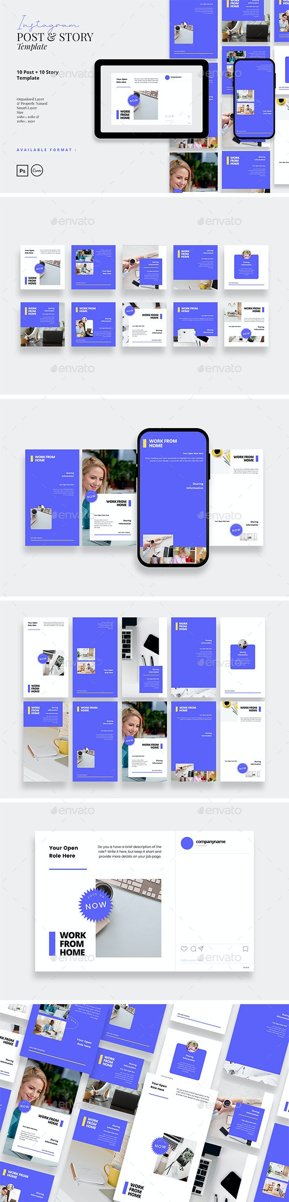 Modern and Neat Work from Home Instagram Template - Social Media Web Elements