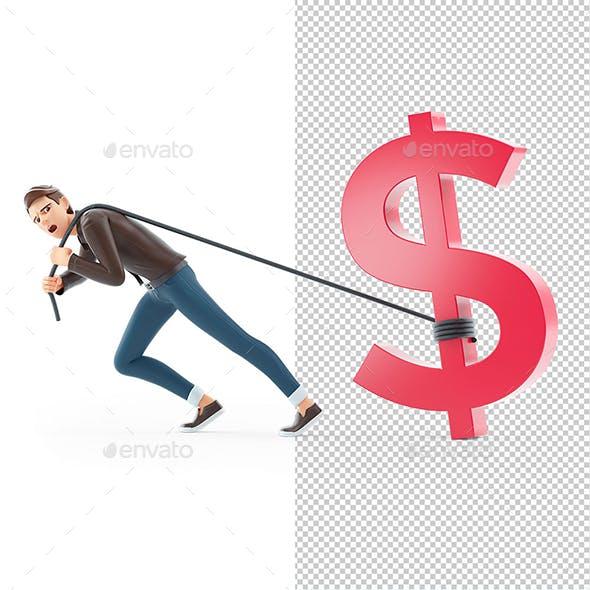 3D Cartoon Man Pulling Dollar Sign