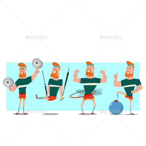 Fitness Exercise For Man Vector Cartoon Characters Set.