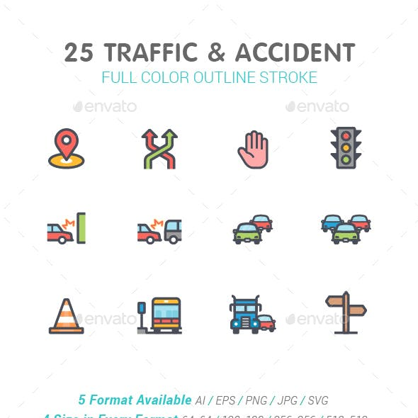 Traffic and Accident Color Icon