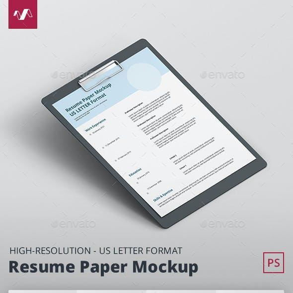 Resume Paper Mockup US Letter