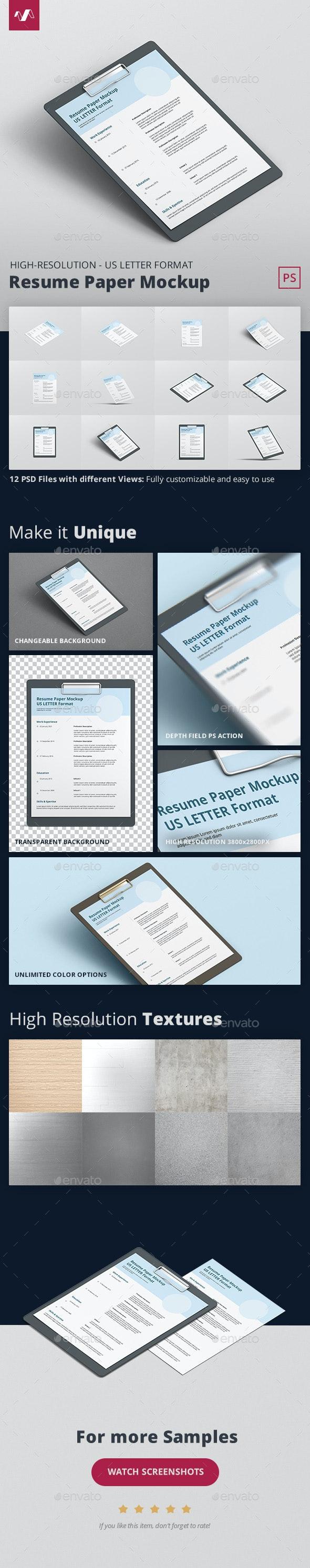 Resume Paper Mockup US Letter - Stationery Print
