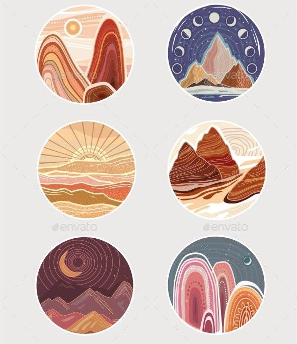 Set of Flat Minimalist Landscapes in Round Frames - Landscapes Nature