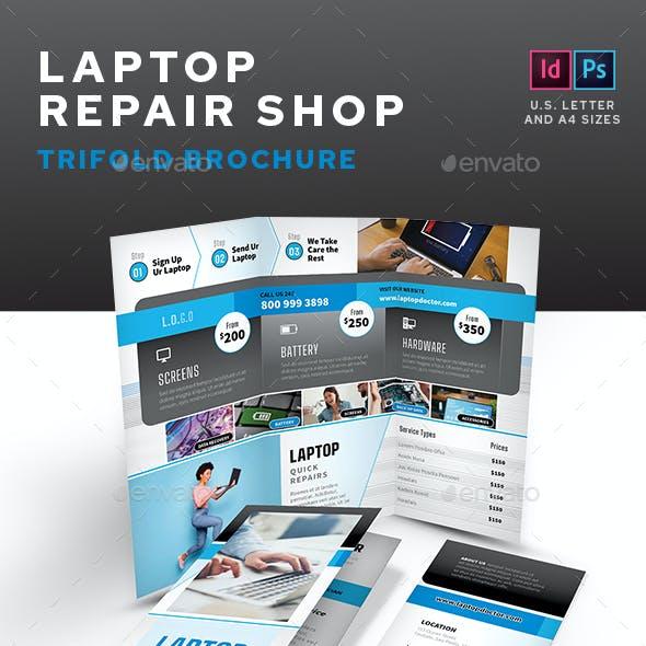 Laptop Repair Shop Trifold Brochure