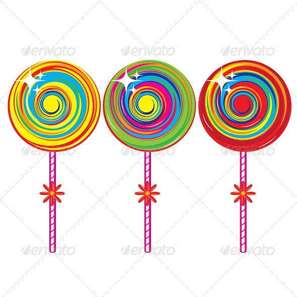 Set of colorful lollipops - Food Objects